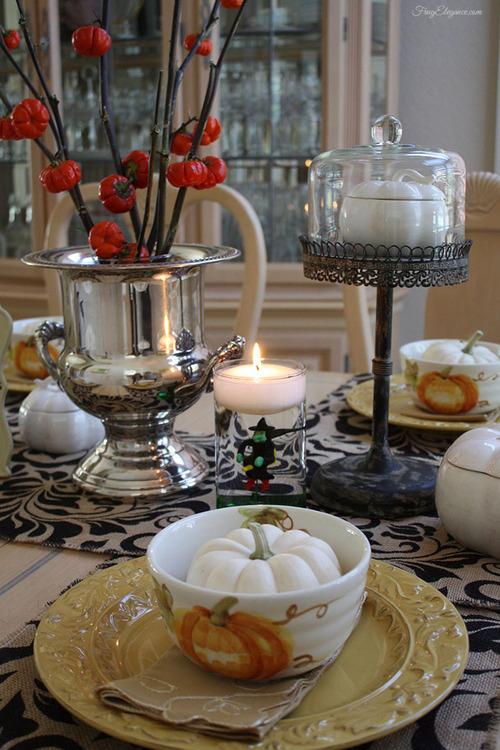 Halloween Dinner Table Setting.Halloween Dinner Party Table Setting Frugelegance