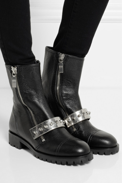 what-do-i-wear:</p><br /> <p>ALEXANDER MCQUEEN<br /><br /> Stud-embellished leather biker boots<br /><br /> $1,295</p><br /> <p>