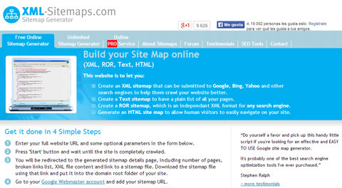 servicio web para crear un mapa de sitio