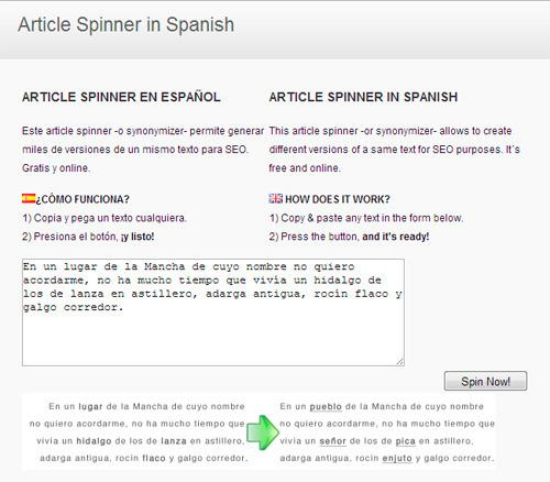 article spinning - servicio web para reproducir textos