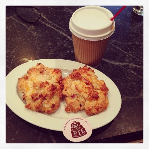 Picked up some ham and cheese scones and coffee from Sweet as Pie in Denver while walking the dog this morning. It's the cutest new neighborhood bakery!! #drinkandspoon #bake #sweetaspie #scone #food #foodporn #foodstagram #instagood #instafood #yum #no@