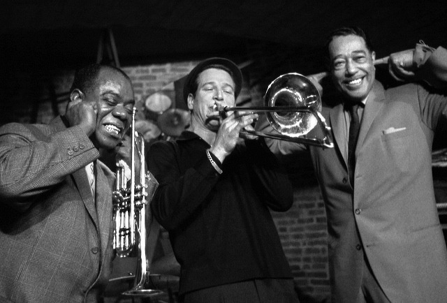 Louis Armstrong, Paul Newman and Duke Ellington by Herman Leonard
