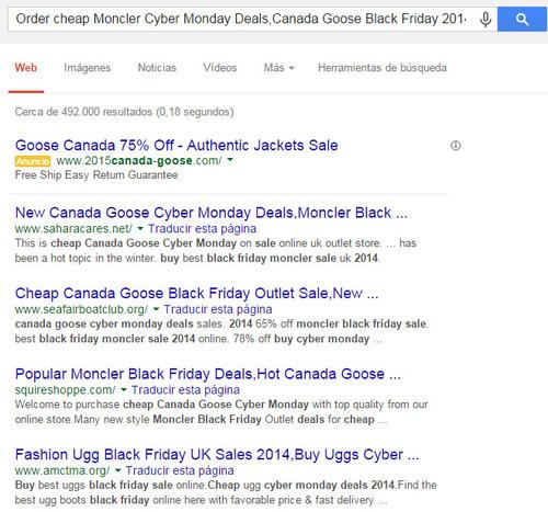 búsqueda en Google por sitios web hackeados