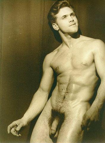 vintage male skinny dipping