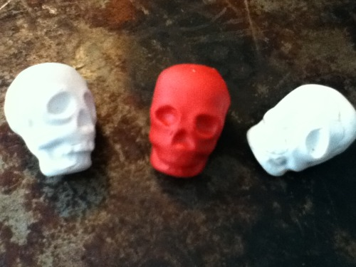 Baked clay skull vial/bottle toppers by Spiritscraft inspired by Sarah Lawless