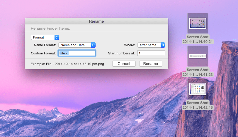 Apple Mac OS X Yosemite Finder batch rename files