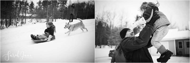 Sledding in the snow in Maine Sarah Jane Photography
