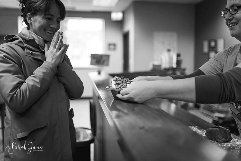 an excited customer at Catbird Creamery Sarah Jane Photography Maine