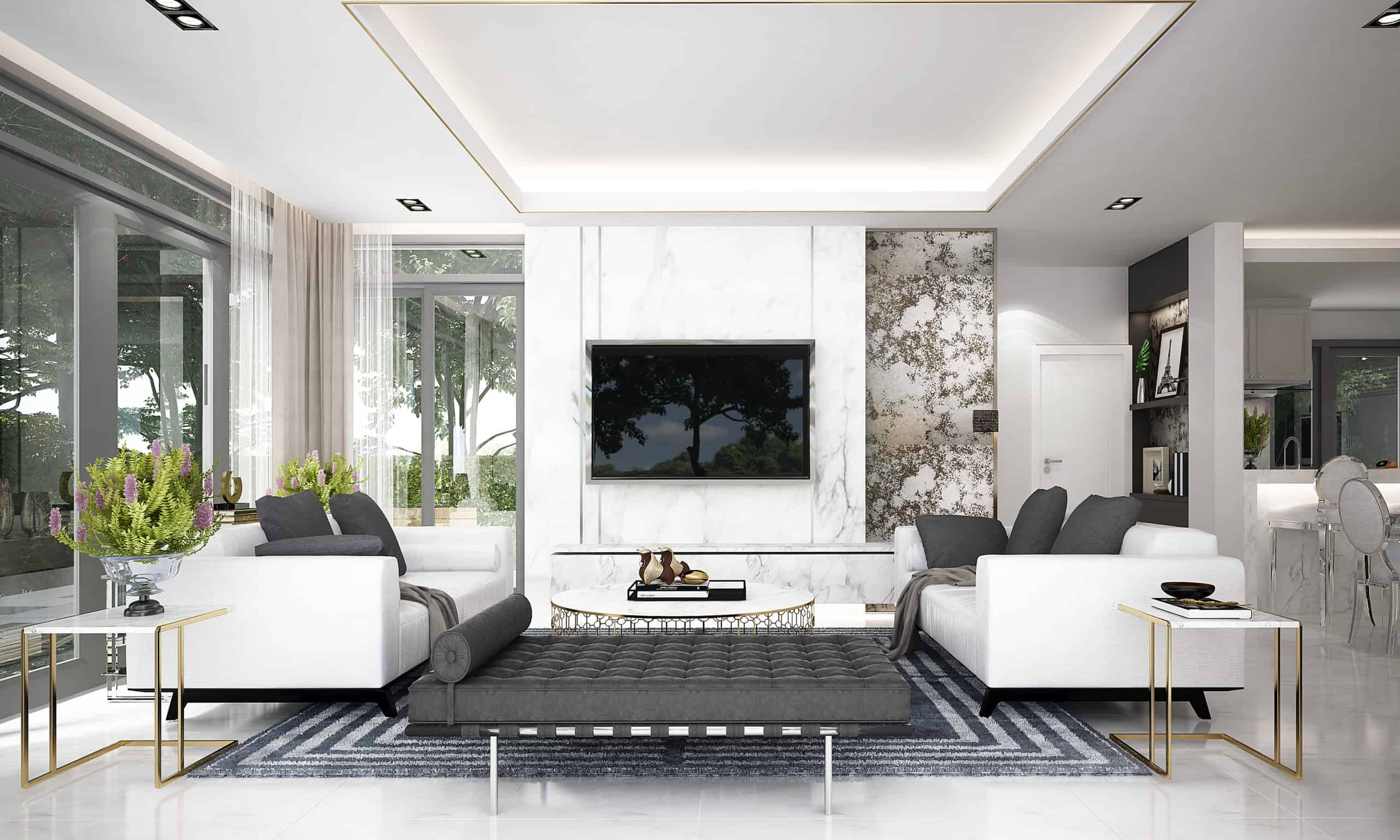 modern living room interior design and lcd tv and pantry area and garden view background tcp lighting