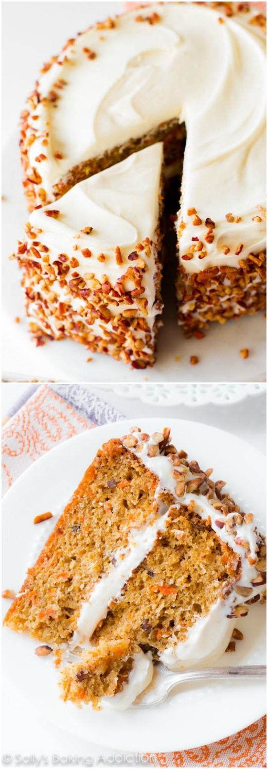 My Favorite Carrot Cake Recipe    Sallys Baking Addiction Simple and moist two layer carrot cake with pecans and cream cheese  frosting  I
