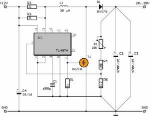 12V to 30V TL497 DC DC Converter Circuit (20v30v