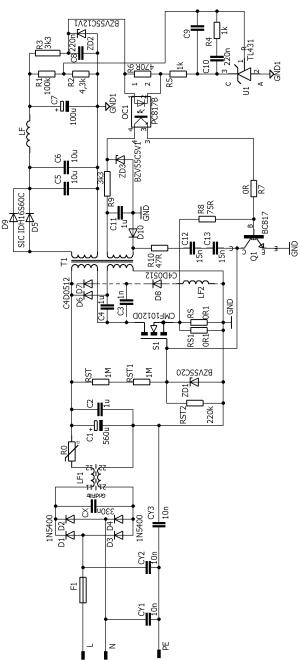 Self Oscillating SMPS Circuit Flyback 600W 60V 120KHZ