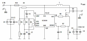 12V to 19V Car DCDC Stepup UC3843D Converter for Notebook  Electronics Projects Circuits