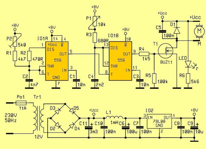 ne556 speed controller circuit dc motors  electronics