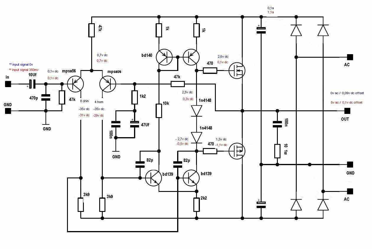 100w Audio Amplifier Circuit Diagram Power