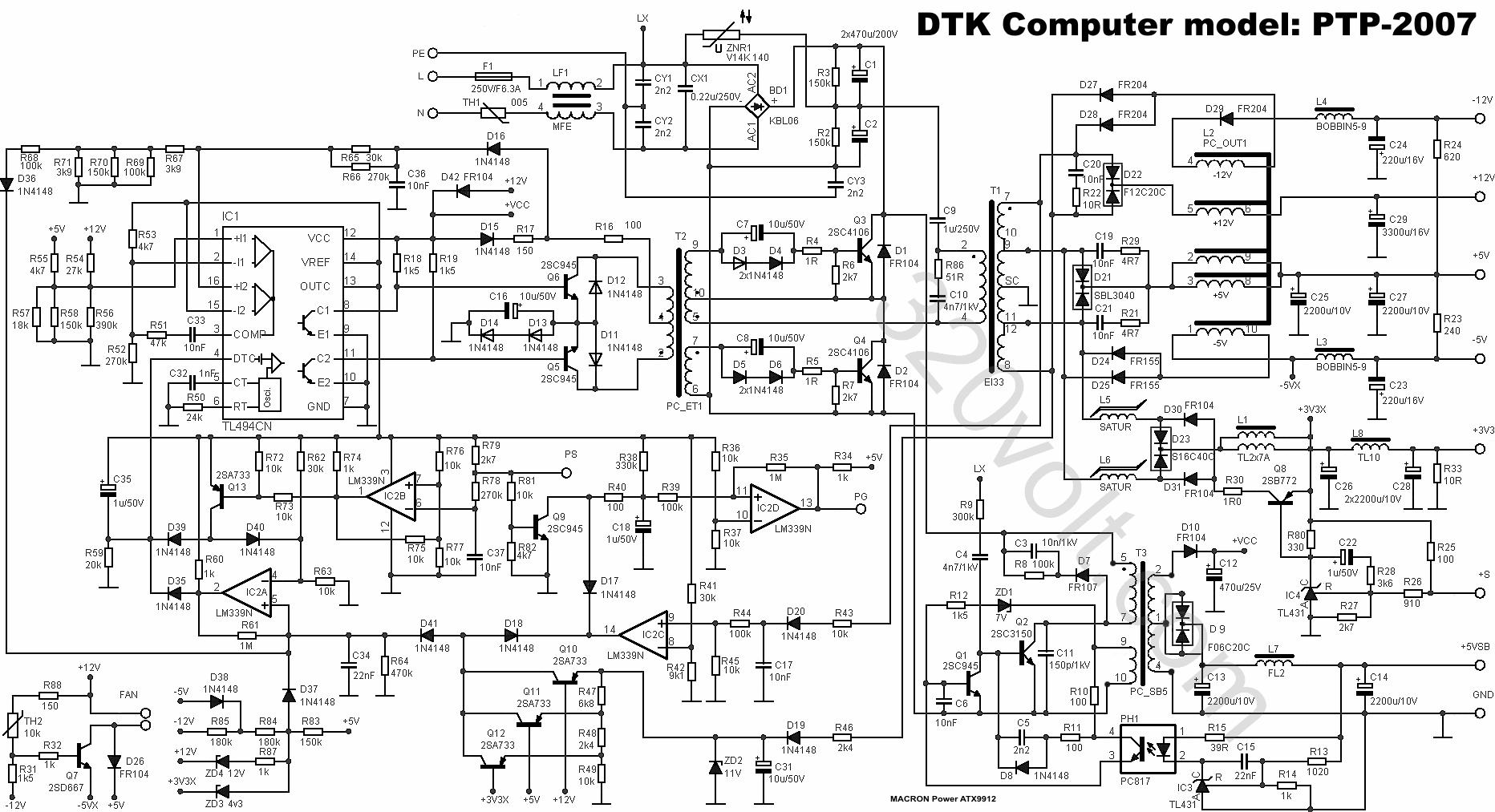 Dtk 200w Atx Ptp Smps Tl494cn Lm339n Elektronik
