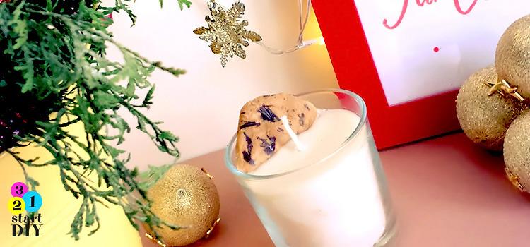 świeczka świąteczna mleko i ciasteczko