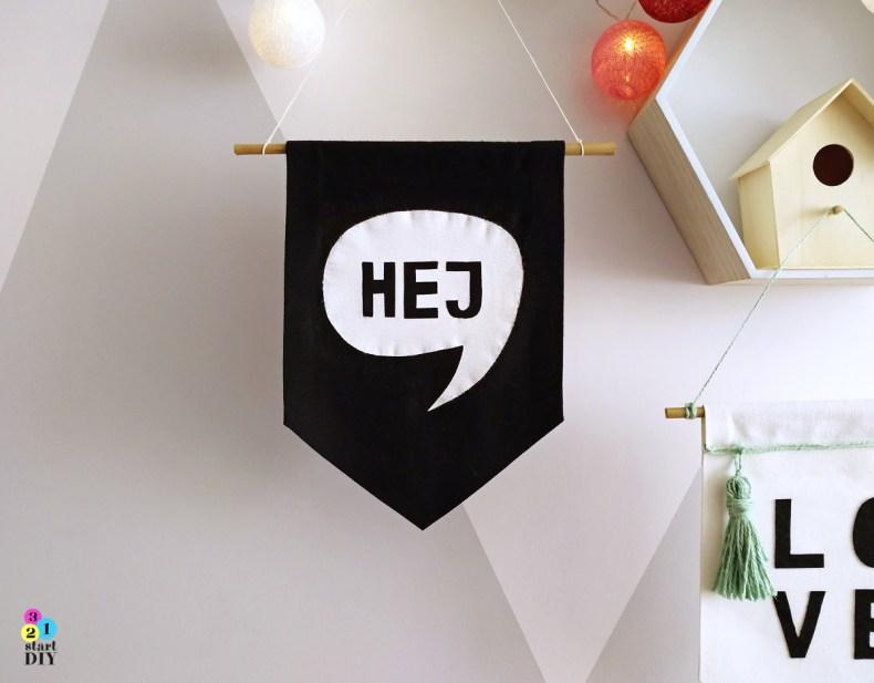 jak zrobić proporczyk z napisem, dekoracja w stylu skandynawskim