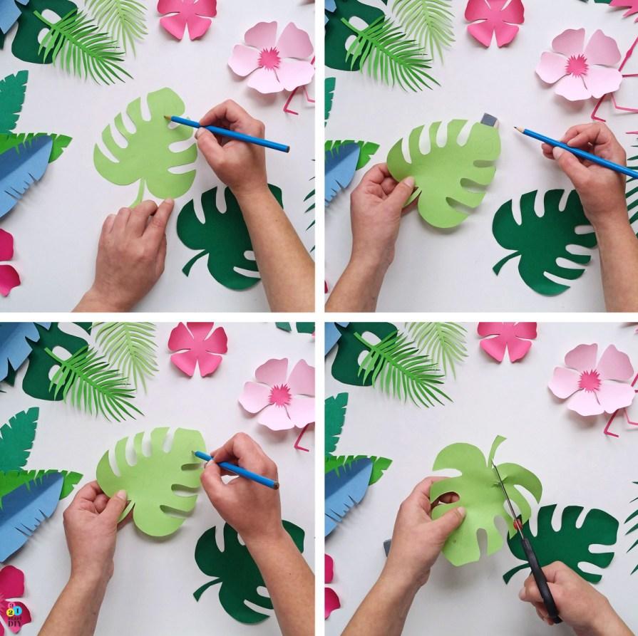 tropikalne liście - szablony do druku
