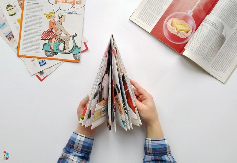 jak zrobić choinkę z gazety