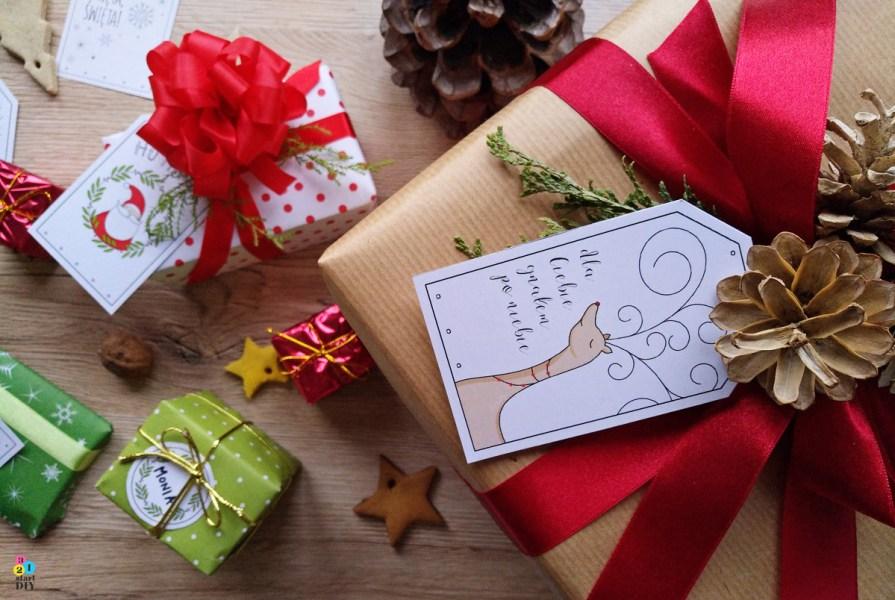 świąteczne bileciki do prezentów do druku