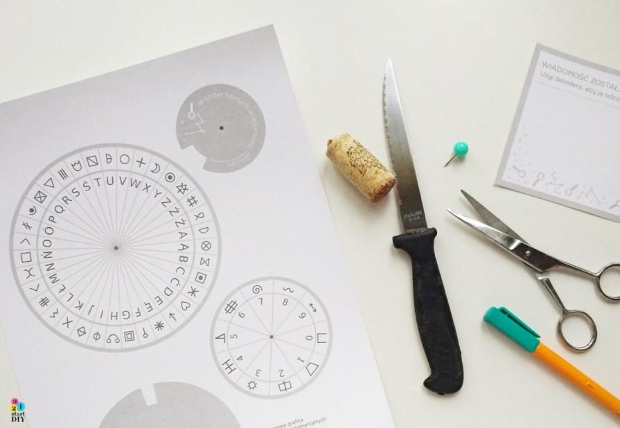 dekoder; szyfr; szyfrowanie tajnych wiadomości - zabawa dla dzieci do druku