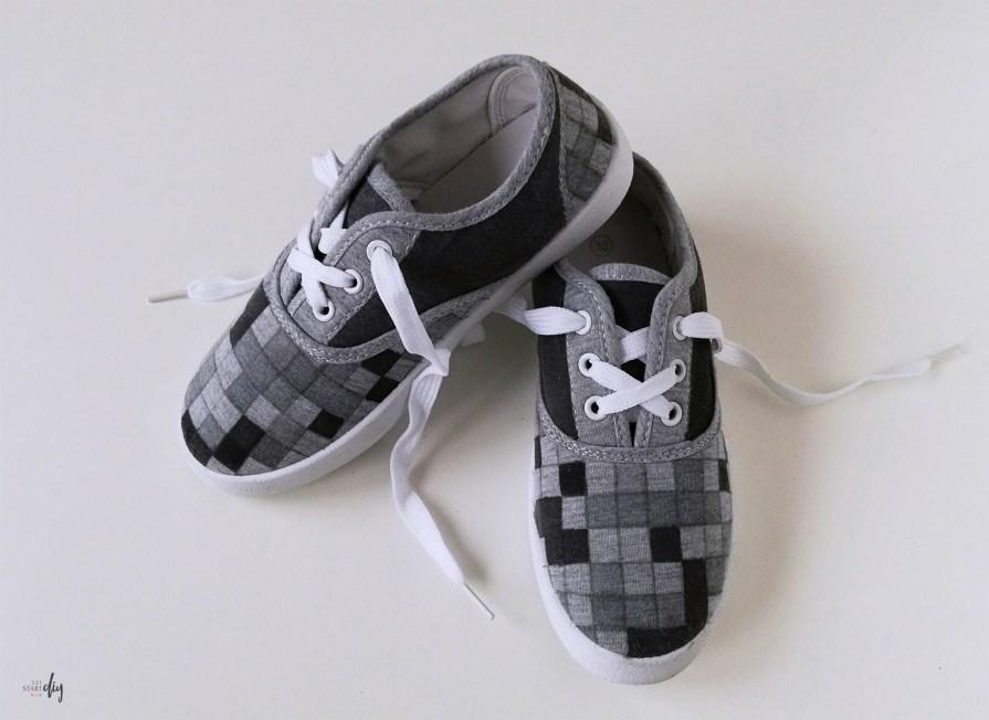 Malowanie butów - tenisówki dziecięce Minecraft