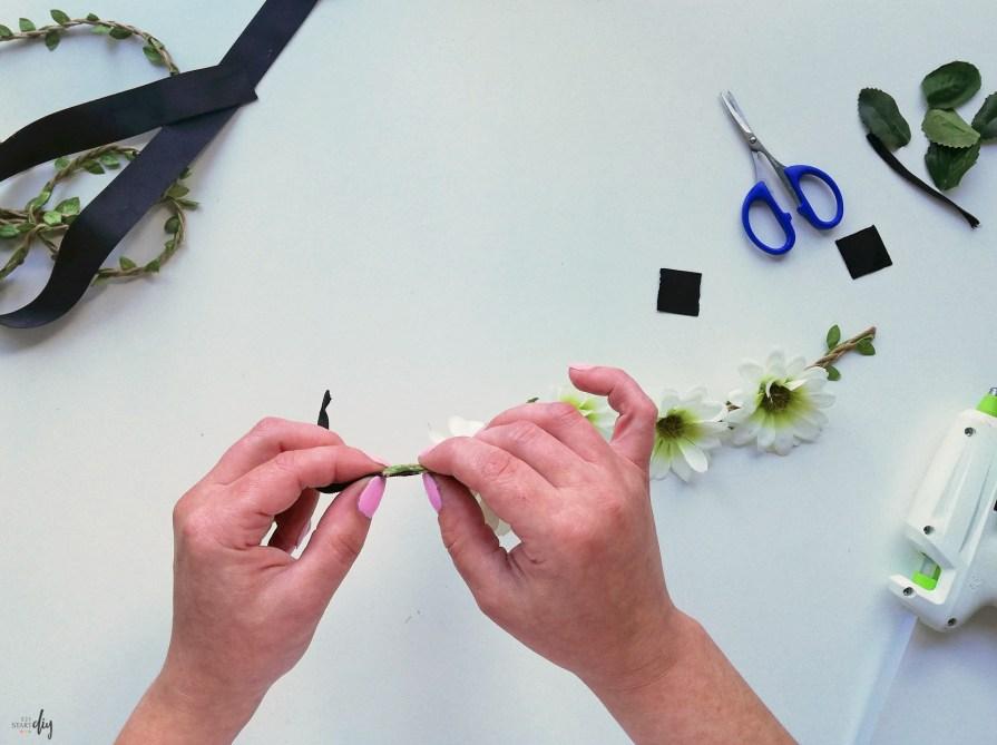 Boho opaska z kwiatami i wianek na gumce - kwieciste diy
