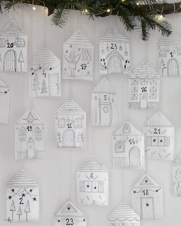 Kalendarz adwentowy diy - domki z papierowych torebek