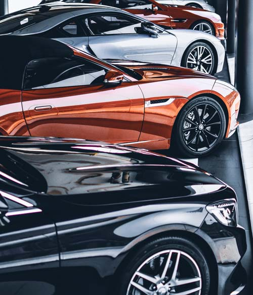 sports cars in a row