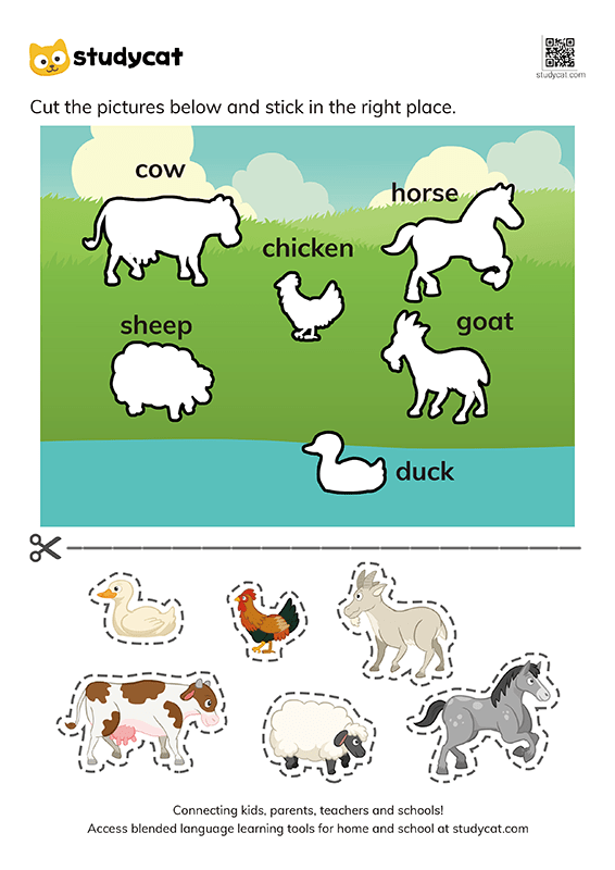 Farm Animal Cut And Paste Worksheet
