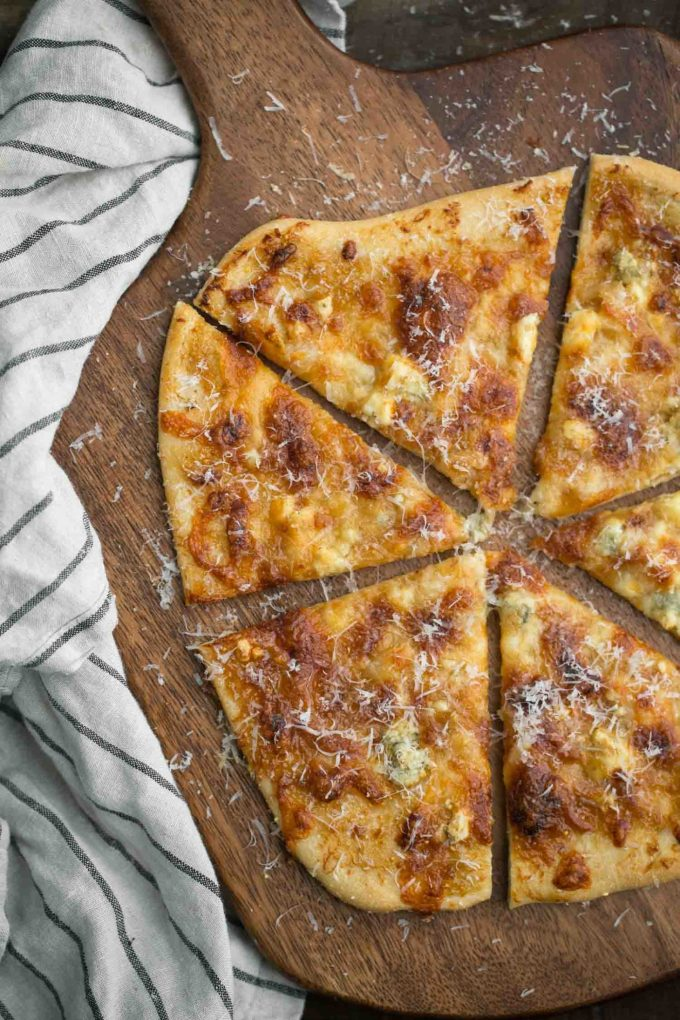 Fig Jam Flatbread with Roasted Garlic and Blue Cheese | Naturally Ella