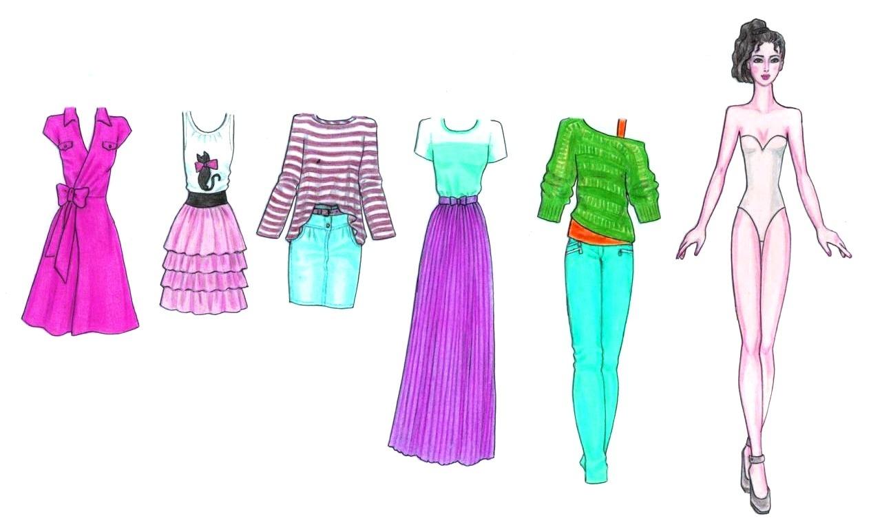 картинки одежды для кукол карандашом