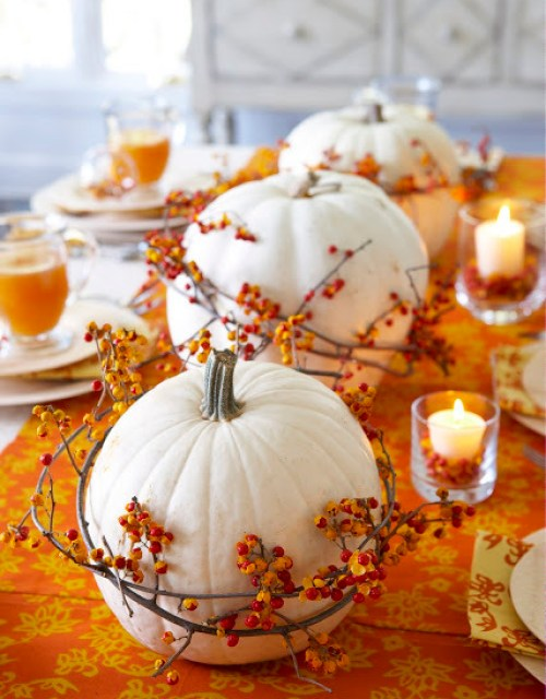 Fall Ideas and Inspiration White Pumpkin Centerpiece-  Fall In Love with Fall- Fall Inspiration Pics  Frosted Events  www.frostedevents.com
