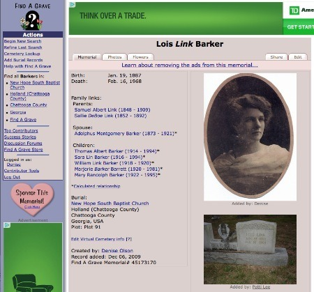 Sample Find A Grave page