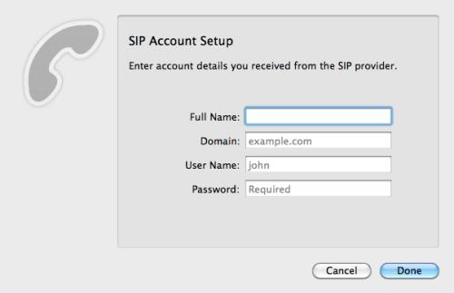 Telephone - SIP Account Setup
