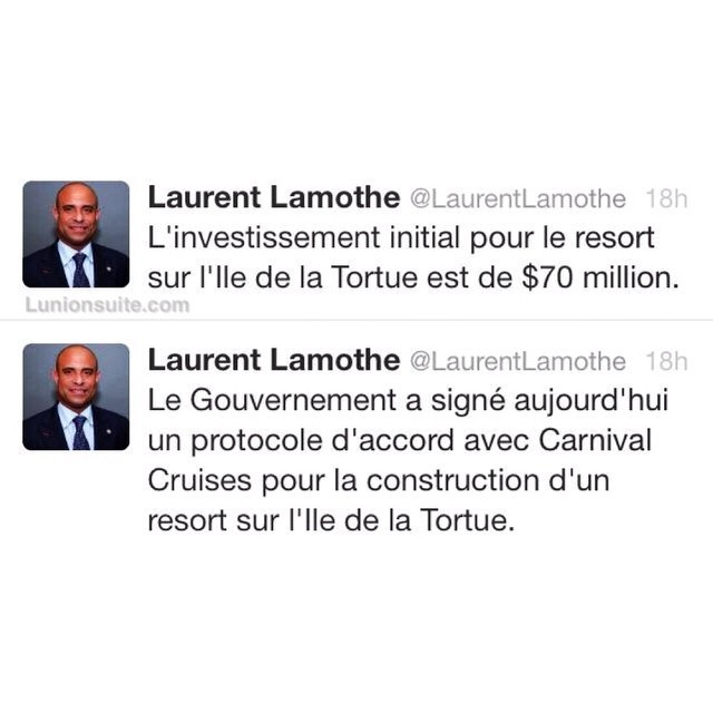 According to prime minister @laurentlamothe: &#8220;Yesterday, the Haitian government signed an agreement with Carnival Cruises for the construction of a resort on the Tortuga Island of Haiti (l&#8217;Île de la Tortue). The initial investment on the island is $70 million.&#8221;| #lunionsuite #haiti #haitians #tortugaisland #carnivalcruise #travelhaiti #haititourism  </p data-recalc-dims=