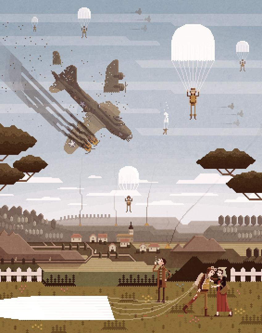 "pixelshuh:</p> <p>""How I met your Grandfather""<br /> Pixel Art Illustration by Octavi Navarro.2014."
