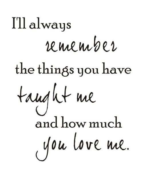 Things you taught me – you were a wonderful Mother and I