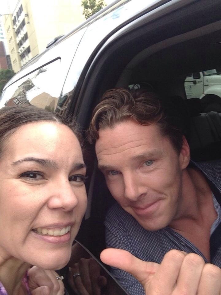 "friendofsherlock:  My friend Julie met Benedict today. She literally ran a block to catch up to his car and got in the middle lane while they were at a red light. Her side of the story:: He just rolled up next to where I was on the sidewalk. I looked over, eyes popped out of my head and I said ""Hi!"" He said ""Hi!"" And rolled away down the street. I said ""I'm gonna chase him."" And I did! I need to stop asking myself for permission before I do stuff! He said ""you're going to get yourself run over!"" I said ""I don't care!""  Dangerous behaviour!"