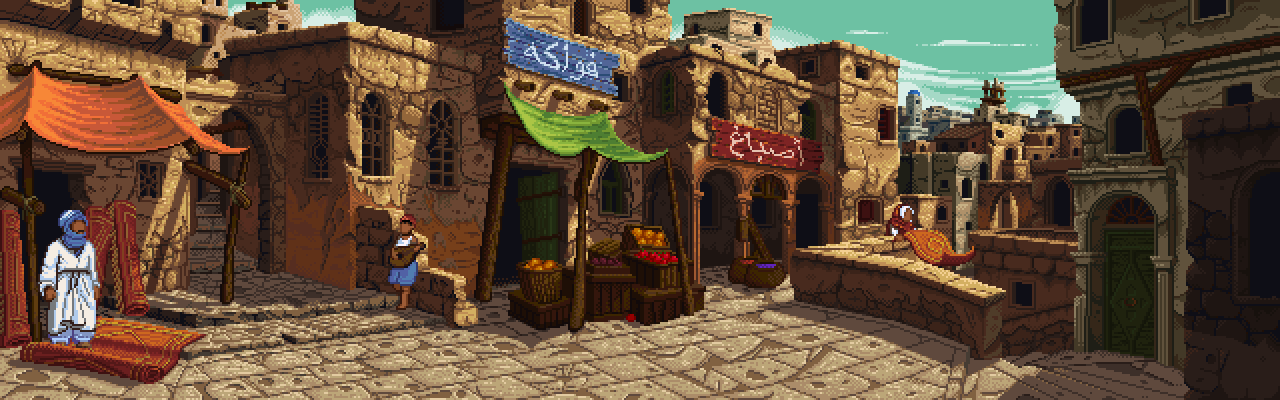 More practice backgrounds in my spare time. This time inspired by the Casbah district of Algiers. A few people have said it reminds them of Indiana Jones and the Fate of Atlantis which makes me happy. ^_^ Follow me on Twitter if you'd like to see my general ramblings.