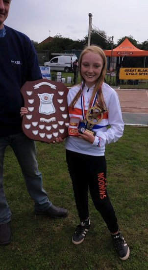 Swindon's Alice Neighbour claims her second British title.