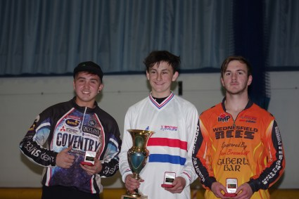 2015 British Indoor Under 16 Champion Will Tidball with runner up Kyle Roberts (left) and third placed Brandon Whetton (right).