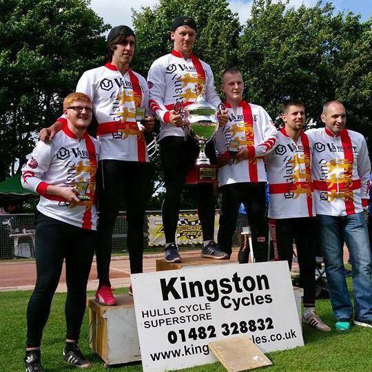 Winning England team (l-r) Ben Higham, Josh Brooke, Andy Angell, Matt Smith, Chris Timms, Wayne Aris (Manager).