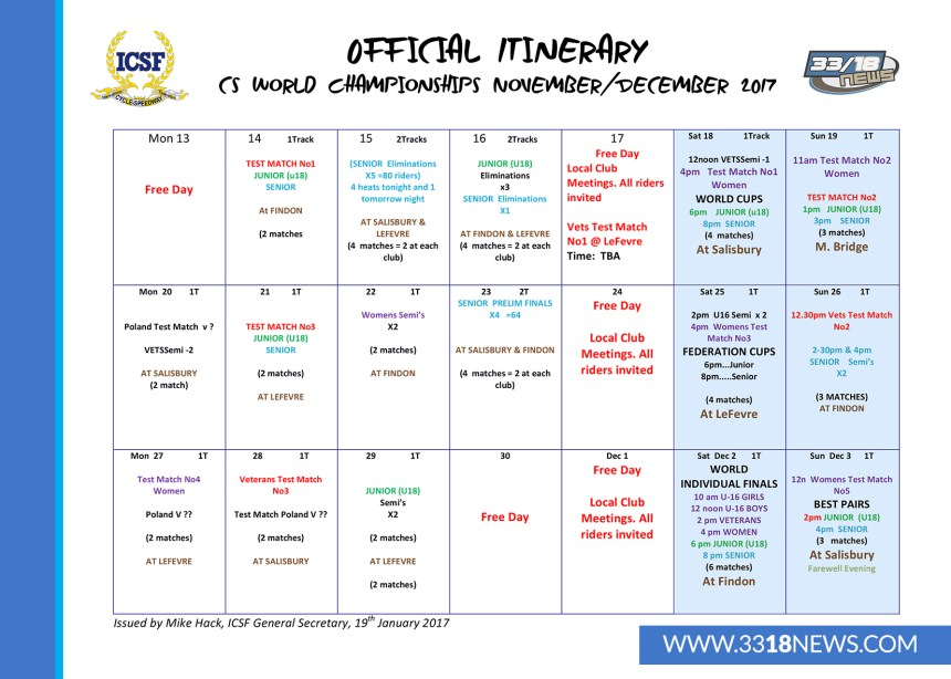 Microsoft Word - 2017 ITINERARY CALENDAR - JAN 19TH 2017.docx