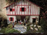 A traditional red and white house provides the Crèche in the Basque country which lies on the western border of France and Spain.