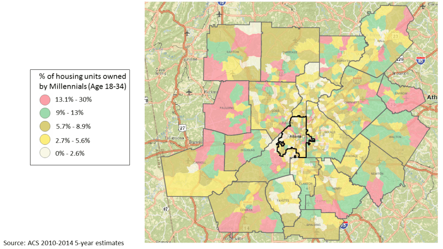 Map showing percentage of owner-occupied housing units with a Millennial homeowner