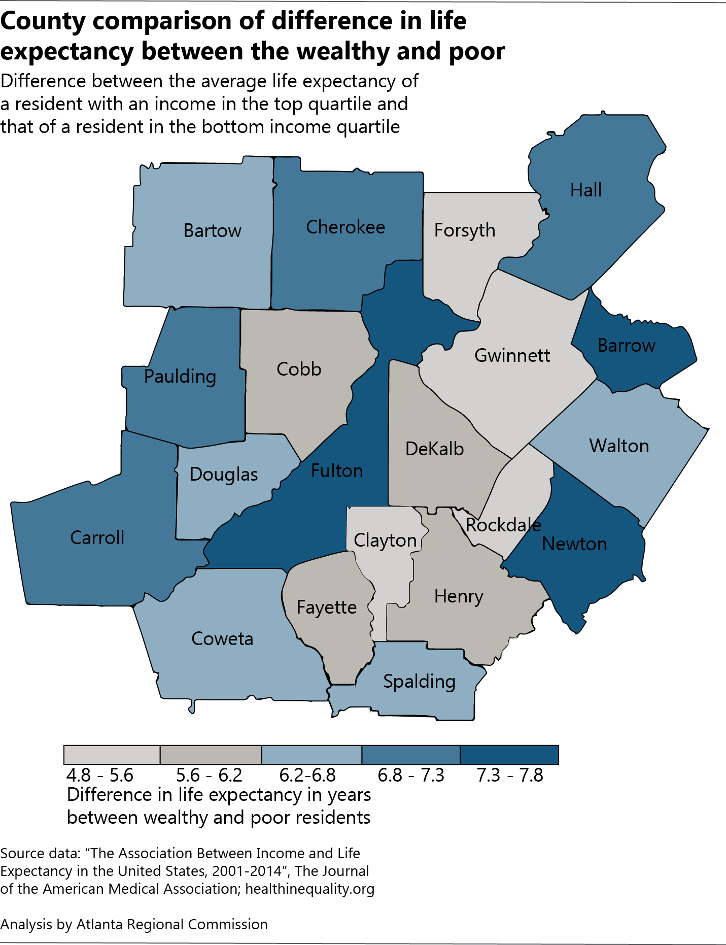 Monday Mapday: County-level disparities in life expectancy