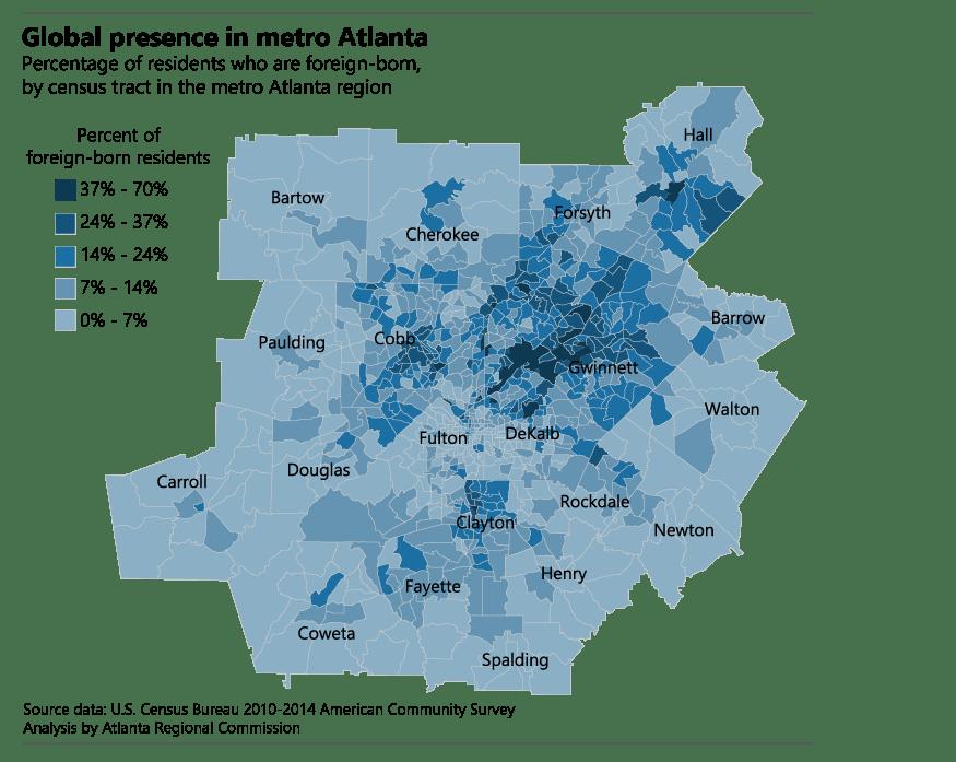 Foreign born residents in metro Atlanta