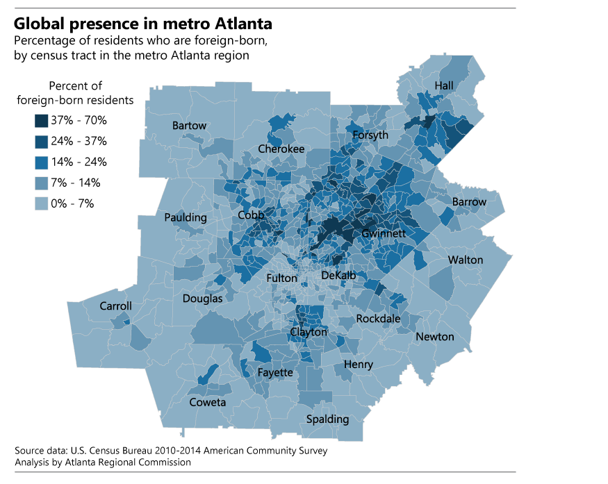 Foreign born residents in metro Atlanta